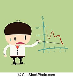 Businessman present pointing negative trend graph fall.Flat...