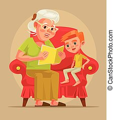 Grandmother character sit with grandson and read book story. Vector flat cartoon illustration