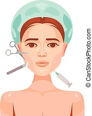 Plastic surgery. Woman face. Vector flat cartoon...
