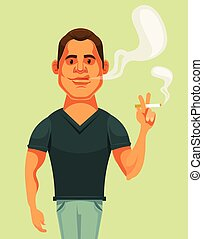 Man character smoking cigarette. Vector flat cartoon illustration