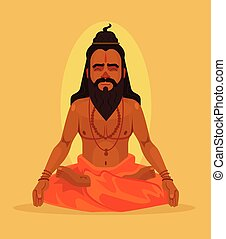 Meditating yogi man character. Vector flat cartoon...