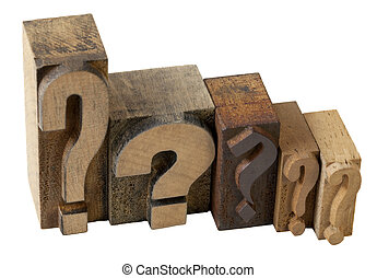 question marks - dilemma concept - 5 questions marks in...