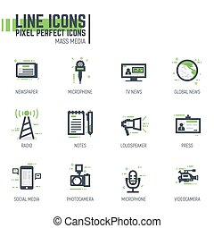 Mass media line icons - Mass media line pixel style icons...