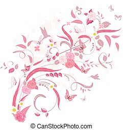 elegant floral ornament with roses and birds for your design