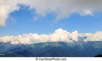 Clouds in the mountains. Zoom. TimeLapse. Rosa Khutor....