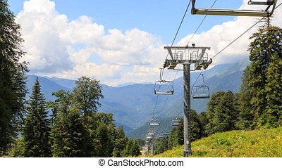 Cable lift in the summer. TimeLapse. Gazprom center, Sochi,...