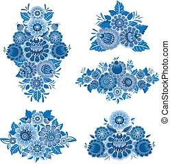 monochrome collection of fancy decorative flowers for your desig