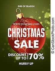 Christmas sale design poster template with shiny decoration...