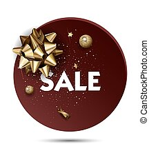 Christmas or New year holiday sale price circle sticker with...