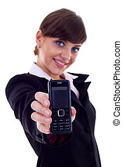 business woman holding phone - Friendly confident business...