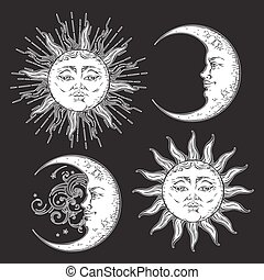 Boho hand drawn sun and moon set vetor - Antique style hand...