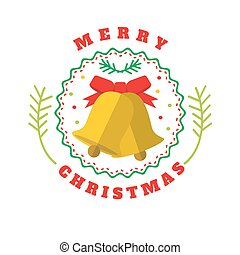 Christmass flat style logotype with bells - Merry Christmass...