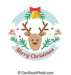 Christmass deer flat style vector logotype or icon
