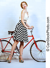fascinating woman - Romantic summer girl with her bicycle....