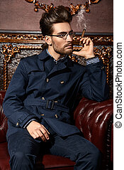 imposing handsome man - Portrait of a well-dressed imposing...