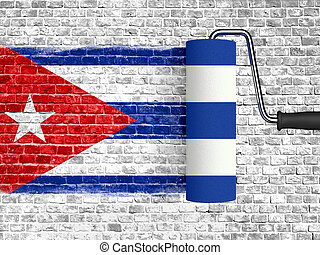 roller to paint on white brick wall with cuba flag, wall...