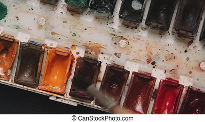 Close up palette of watercolors - Close up palette of...