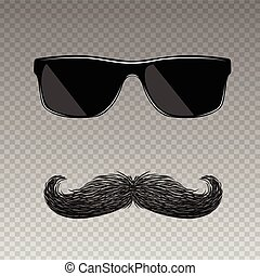 Realistic fake mustache with glasses - Realistic fake old...