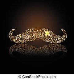 Gold retro mustache vector icon. Jewelry fake mustache.