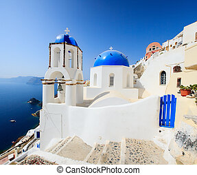 Classical Greek style church in Santorini, Greece -...