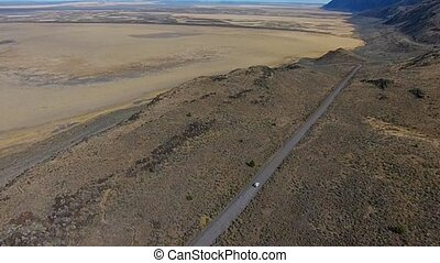 Car on a dirt road Hart Mountain Antelope Refuge Aerial...