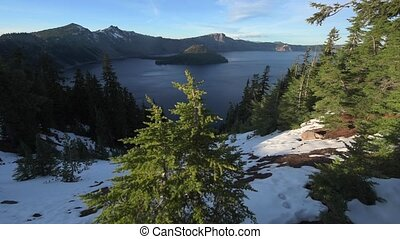 Crater Lake National Park Oregon slow dolly shot - Crater...