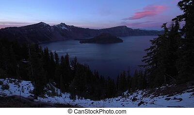 Crater Lake National Park Oregon after Sunset Wizard Island...