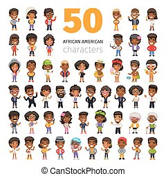 African American Characters - Big set of 50 african american...
