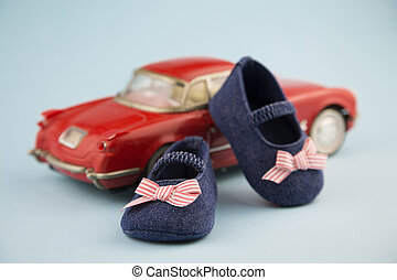 Little girl summer shoes - Portrait in 50's style of a pair...
