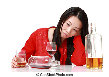 Japanese woman in depression is drinking alcohol - concept...