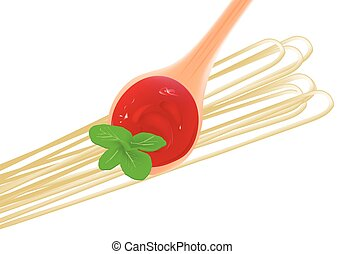 condiment for pasta with tomato sauce - tablespoon of tomato...