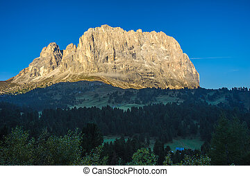 Sassolungo or Langkofel Mountain Group at sunrise,...