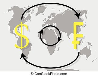 Currency exchange franc dollar on world map background....