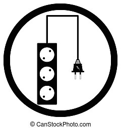 Electrical socket sign black