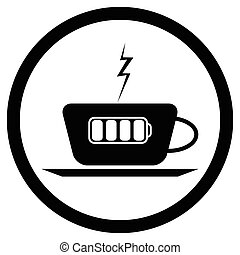 Cup of coffee and battery lightning. Coffee mug and coffee...