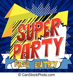Vector Party banner with comic book theme.