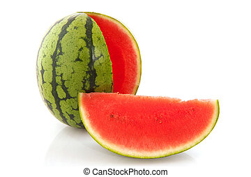 Cut water melon - Sweet juicy water melon isolated over...