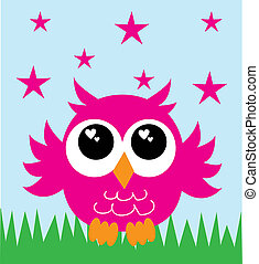 a sweet little pink owl - greeting celebration or cover