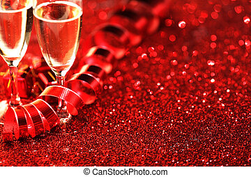 Valentines day Champagne and decorative ribbon