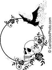 skull, raven and roses frame