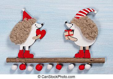 de madera, dos, Plano de fondo, navidad, tarjeta, erizos