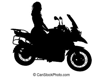 Biker women on white background