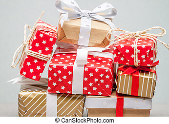 big pile of christmas gifts - big pile made of different...