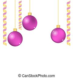 Christmas balls and ribbons with space for your text