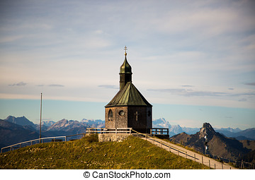 Wallberg chapel in summer, view to Tegernsee