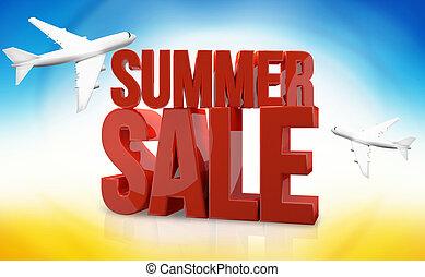 summer sale airplane travel 3d render