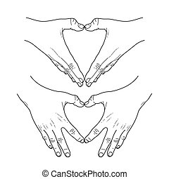 Graphic hands show heart - Graphic hands folded in the shape...