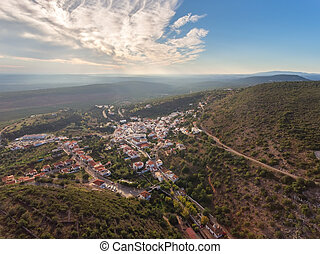 Aerial. Village of Alte, Loule region. The captured drone to...