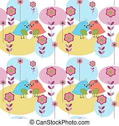 Seamless pattern with birds marvelous family