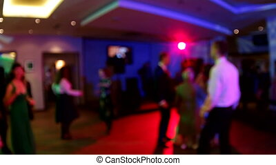 Wedding. Dancing bride and groom, couples and guests....